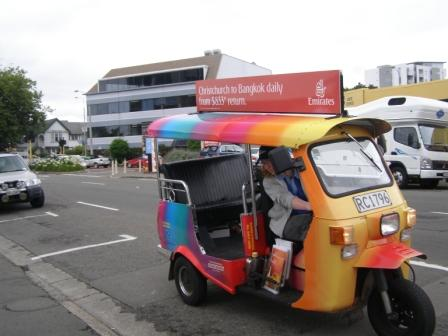 Christchurch tuk tuk and cheerful driver
