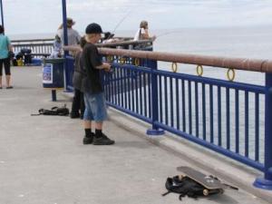 go fishing by skateboard