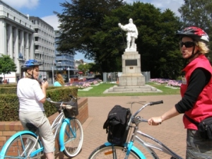 tour the city via bike - stop at the Robert Falcon Scott statue