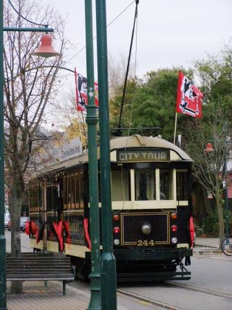 Christchurch tram flys the flag of our rugby team  the wonderful CRUSADERS