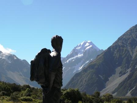 Sir Edmond Hillarys' statue at Mt Cook/Aoraki. NZ