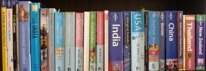 row of travel books