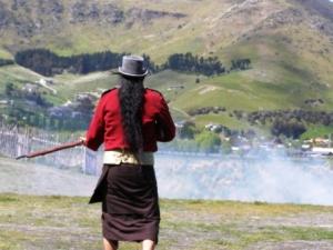 Musket warrior at Tamaki Village, Christchurch, NZ
