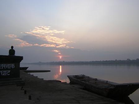 Mediatation on the banks of the holy Namada River, Maheshwar.