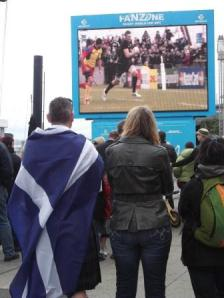 Scots watch their team play Romania