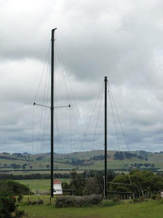 The bombed - by the French - Rainbow Warrior masts are at the Dargaville Museum
