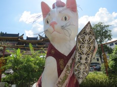The 'big cat' is dressed according to the season or festival, these are its Gawai clothes - the Iban harvest festival