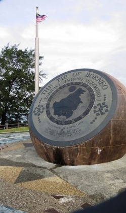 the beautiful globe monument at the tip