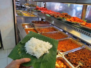 Start with rice - on a banana leaf