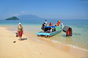 The kiwitravelwriter, arrives on Talang-Taland Island, Sarwawak, Malaysian Borneo. photo by Gustino from Sarawak Tourism Board, who hotested me)