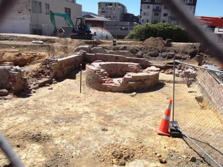 An old gun pit is uncovered