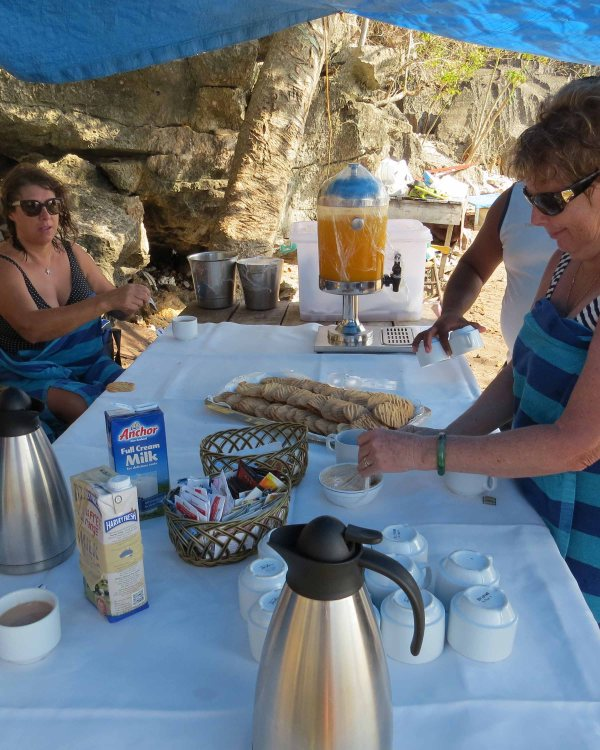 Morning tea on the beach after visiting the cave