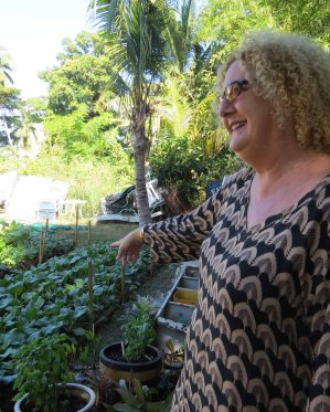 Resort Manager Amanda Braddock shows us the gardens -growing veg for the kitchen