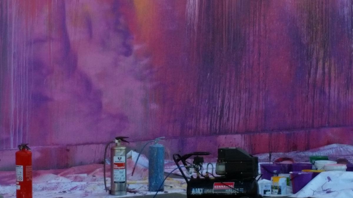Ash Keating creates a huge art work in Christchurch, NewZealand