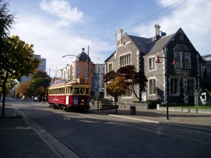 Tram outside Arts Centre