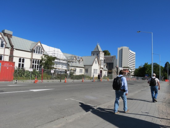 Provincial Chambers fences of while quake damage is repaired
