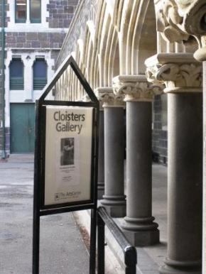 """Cloisters Gallery. Arts Centre: poster re my photographic exhibition """"Searching for Buddha"""""""