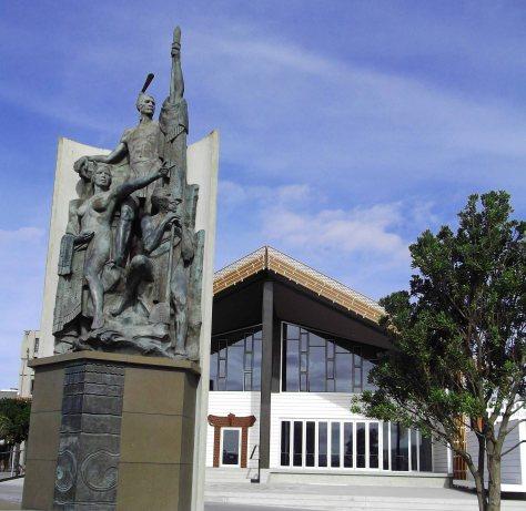 the bronze statue is impressive