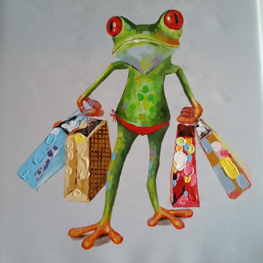 a frog goes shopping