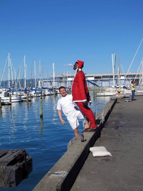 sculpture  on Wellington Waterfront dressed as Santa