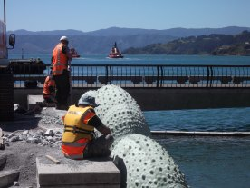 New sculptures being installed